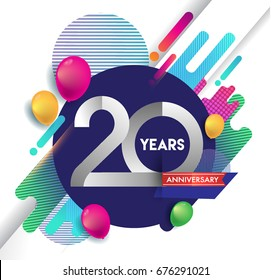 20 years Anniversary logo with colorful abstract background, vector design template elements for invitation card and poster your birthday celebration.