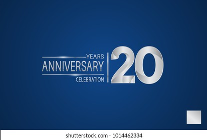 20 years anniversary logo with elegance silver color isolated on blue background for celebration event