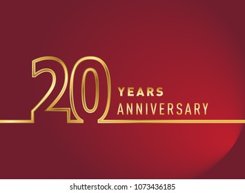 20 years anniversary logo, gold colored isolated with red background