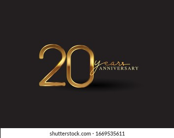 20 Years Anniversary Logo Golden Colored isolated on black background, vector design for greeting card and invitation card