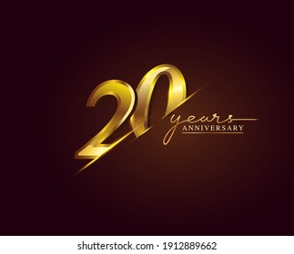20 Years Anniversary Logo Golden Colored isolated on elegant background, vector design for greeting card and invitation card