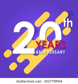 20 years anniversary logo isolated on abstract background. 20th anniversary banner. Birthday, celebration, party, invitation card design element. Vector illustration.
