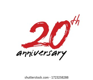 20 years anniversary logo template isolated on white. handwritten 20th letter with brush effect.
