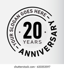 20 years anniversary logo template. Vector and illustration.