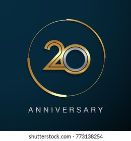 20 Years Anniversary Logotype with  Gold and Silver Multi Linear Number in a Golden Circle , Isolated on Dark Background