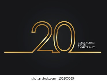 20 Years Anniversary logotype with golden colored font numbers made of one connected line, isolated on black background for company celebration event, birthday - Vector
