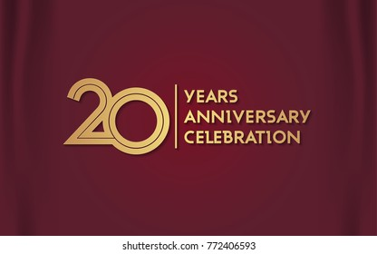 20 Years Anniversary Logotype with  Golden Multi Linear Number Isolated on Red Curtain Background