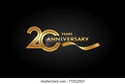 20 Years Anniversary Logotype with  Golden Multi Linear Number and Gold Ribbon, Isolated on Black Background
