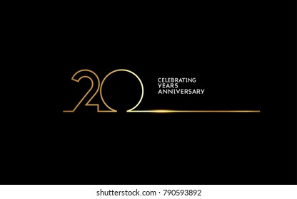 20 Years Anniversary logotype with golden colored font numbers made of one connected line, isolated on black background for company celebration event, birthday