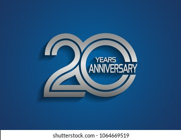 20 years anniversary logotype with linked multiple line silver color isolated on blue background for celebration event