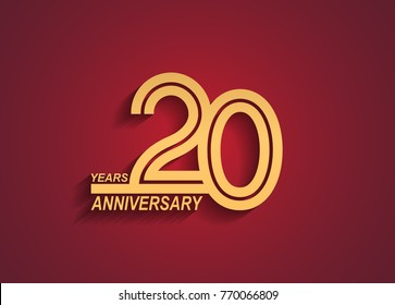 20 years anniversary logotype with linked number golden color isolated on red background for celebration event