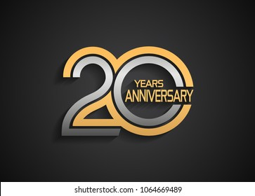 20 years anniversary logotype with multiple line silver and golden color isolated on black background for celebration event