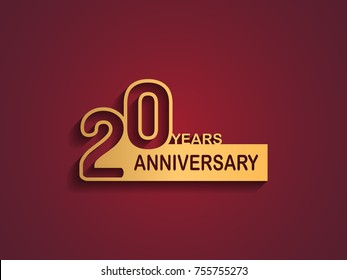 20 years anniversary logotype with outline number golden color on red background