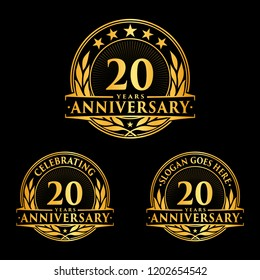 20 years anniversary set. 20th celebration logo collection. Vector and illustration.