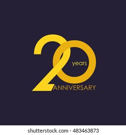 20 years anniversary, signs, symbols, which is yellow with flat design style