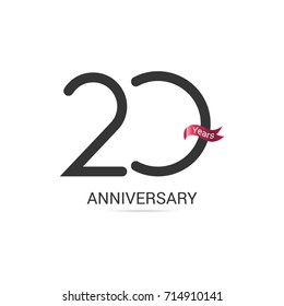 20 Years  Anniversary Simple Logo Celebration Isolated on White Background
