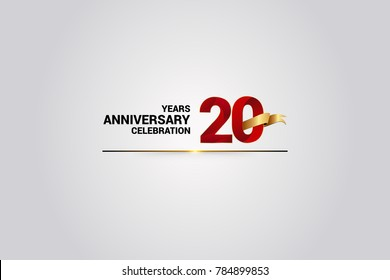 20 Years anniversary using red elegant number isolated on white background, with golden ribbon ca be use as celebration event logo