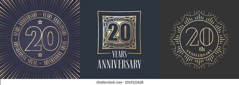 20 years anniversary vector icon,  logo set. Graphic round gold color design elements for 20th anniversary banner