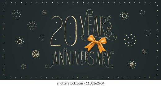 20 years anniversary vector icon, logo, banner. Design element with vintage cute lettering for 20th anniversary card