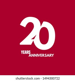 20 years anniversary vector icon, logo. Design element with composition of digit and text for 20th anniversary