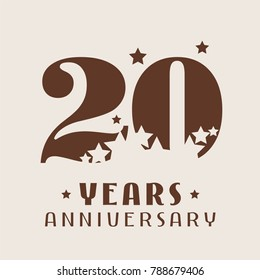 20 years anniversary vector icon,  logo. Graphic design element with number and stars decoration for 20th anniversary