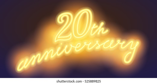 20 years anniversary vector illustration, banner, flyer, logo, icon, symbol, sign. Graphic design element with electric light font for 20th anniversary, birthday card