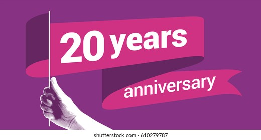 20 years anniversary vector illustration. Graphic design element with number for decoration for 20th anniversary greeting card