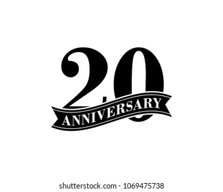20 Years Anniversary Vector Logo Design Template. 20th Birthday Celebration.