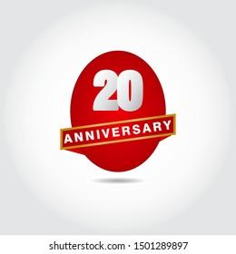 20 Years Anniversary Vector Template Design Illustration