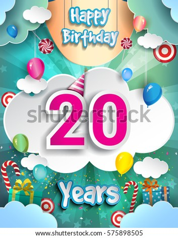 20 Years Birthday Design For Greeting Cards And Poster With Clouds Gift Box