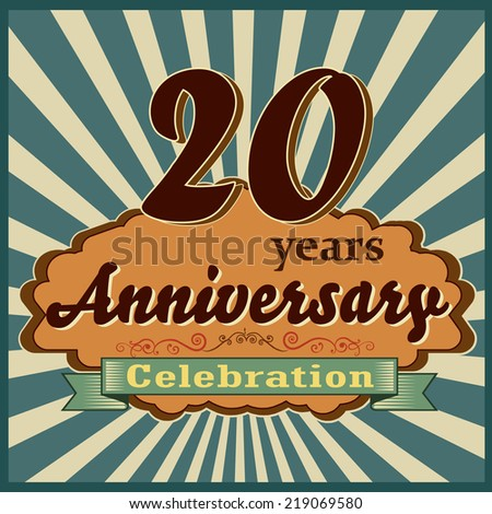 20 years celebration 20th happy anniversary retro style card vector eps10