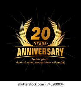 20 years design template. Anniversary vector and illustration template.