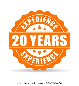 20 years experience vector icon on white background
