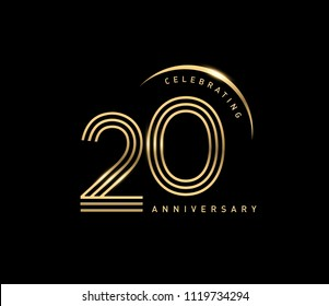20 years gold anniversary celebration simple logo, isolated on dark background. celebrating Anniversary logo with ring and elegance golden color vector design for celebration,