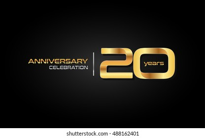 20 years gold anniversary celebration logo, isolated on dark background