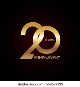 20 years gold anniversary celebration simple logo, isolated on dark background