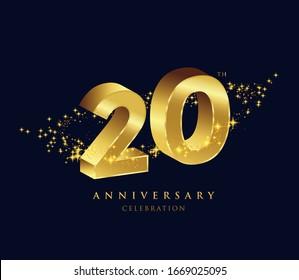 20 years golden 3D anniversary celebration logo vector.