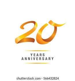 20 years golden anniversary celebration logo , isolated on white background