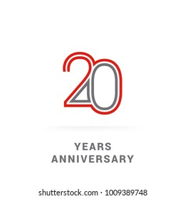 20 Years Golden Anniversary Design using multi liner font number, red and grey colored. isolated on white background