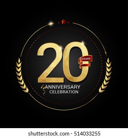 20 years golden anniversary logo with red ribbon, low poly design number, isolated on black background