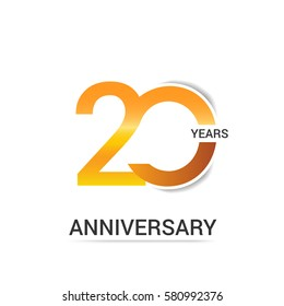 20 Years Golden Anniversary  Logo Celebration Isolated on White Background