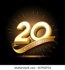 20 years golden anniversary logo celebration with firework and ribbon