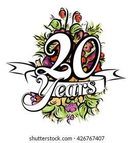 20 Years with nice bouquet of flowers, Greeting Card Design, Vector Hand Drawn Artwork