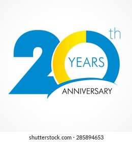 20 years old celebrating classic logo. Colored happy anniversary 20 th template numbers. Greetings celebrates. Traditional framed digits of ages. Special prize, % off, O or 0. Card's or label's idea.