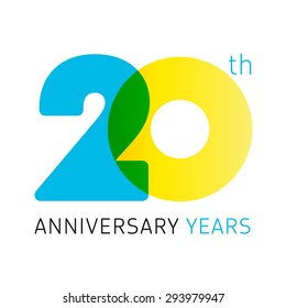 20 years old celebrating classic logo. Anniversary year of 20 th vector numbers. Birthday greetings celebrates with transparency. Traditional digits of jubilee ages. Colored letter O.