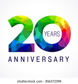 20 years old celebrating colored logo. Anniversary 20 th vector template numbers. Happy birthday greetings celebrates. Stained-glass digits of jubilee ages. Mosaic pattern figures in various colors.