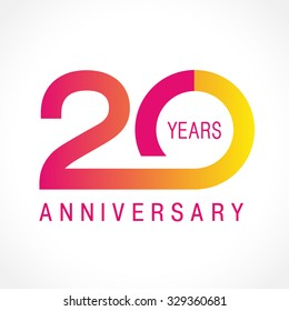 20 years old celebrating logotype. Colored happy anniversary 20 th template numbers. Greetings celebrates. Traditional connected form of ages. Special prize, % off. Card's or label's idea.