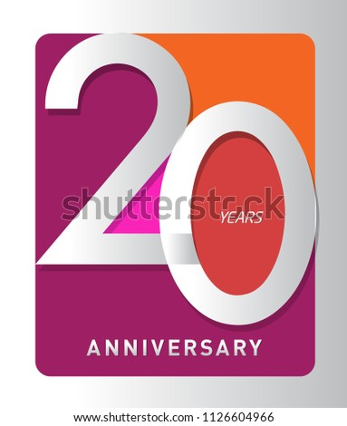 20 years old celebrating modern logo colored happy anniversary template numbers vector design for