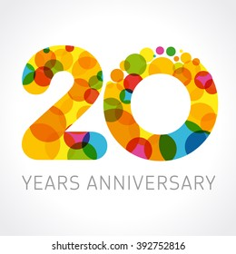 20 years old multicolored logotype. Congrats 20th greetings, congratulations pattern template. Isolated shape numbers. Abstract coloured digits of percent % off, 2nd place, -20%, graphic 0, O emblem.