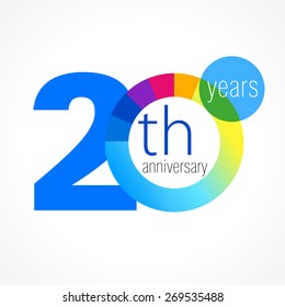 20 years round logo. Anniversary year of 20 th vector chart template medal. Birthday greetings circle celebrates. Celebrating numbers. Colorful digits. Figures of ages, cut sections. Letter O blue.